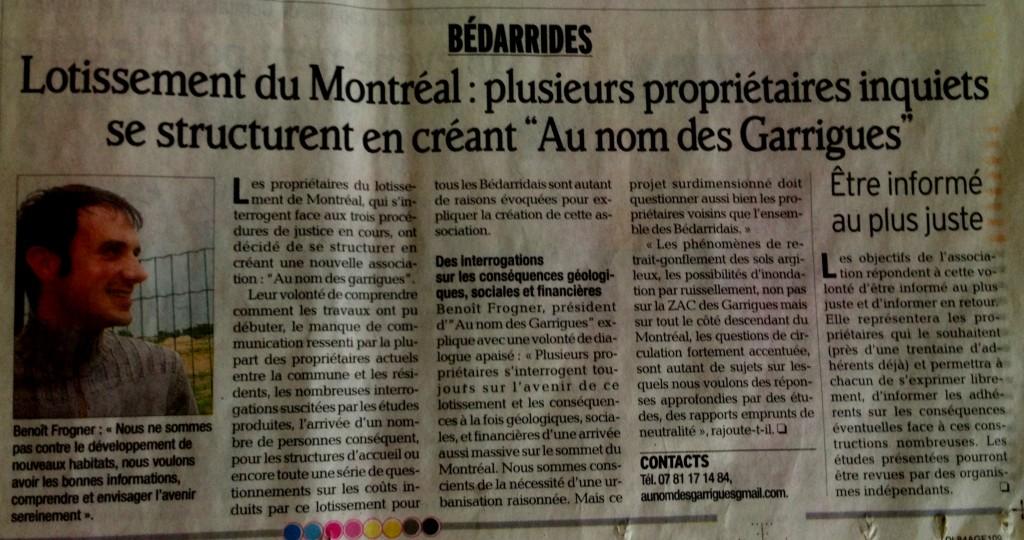 Parution Vaucluse Matin lundi  dans Actualité article-vm-13-05-20131