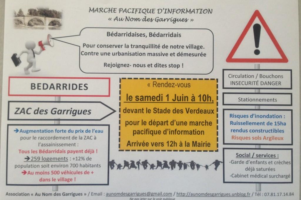 tract marche pacifique d'information Au Nom des Garrigues photo-tract3