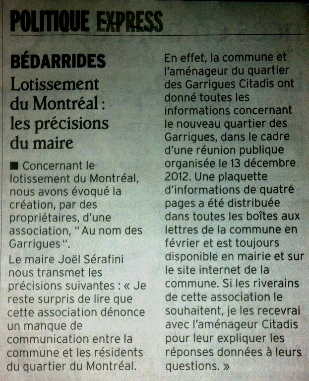 Précisions de Mr le Maire, Vaucluse Matin, le 15 Mai 2013 dans Actualité reponse-vm-15-05-2013
