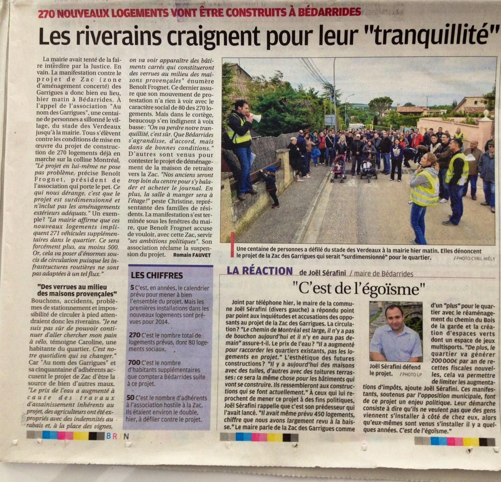 Parutions de presses au lendemain de la marche pacifique  la-provence-2-06-2013