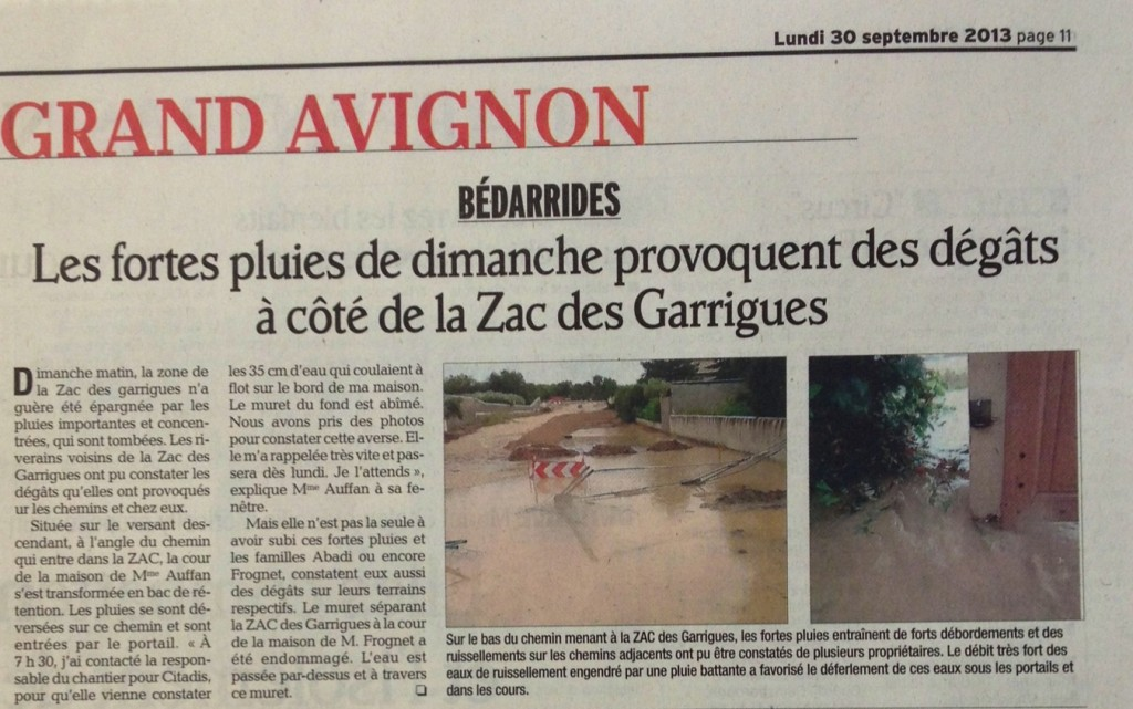 Article du Vaucluse matin lundi 30 Septembre dans Actualité 29-sept.-20132